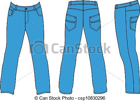 ... Blue Manu0027s Jeans (front, Back, S-... Blue manu0027s jeans (front, back, side - Outline pants vector.-3