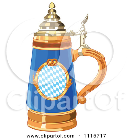 Blue Oktoberfest Beer Stein With A Pretzel Design by Pushkin