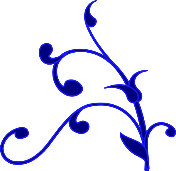 Blue Outline Flower Vine Clip Art Vector-Blue outline flower vine clip art vector-2