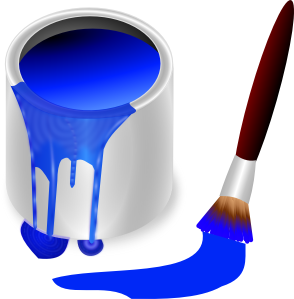 Blue Paint Brush And Can Clip - Paint Can Clip Art