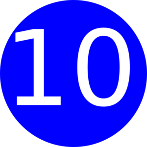 Blue, Rounded,with Number 10 Clip Art
