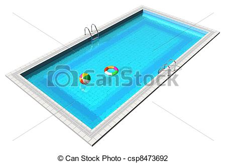 ... Blue swimming pool with beach ball a-... Blue swimming pool with beach ball and lifesaver isolated on.-12