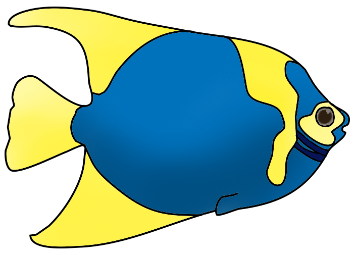 blue yellow fish, clownfish clipart
