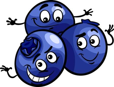 Cartoon Illustration of Funny Blueberry Berry Fruits Food Comic Character  Illustration