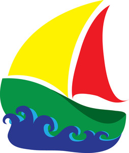 Free Sailboat Clip Art Image: Clipart Illustration of a Colourful Sailboat  in Waves