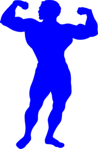 Bodybuilder Blue Clip Art