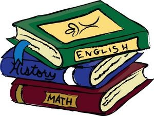 Book Clip Art | Schoolbooks Clipart Image: Text Books or School Books Covering English .