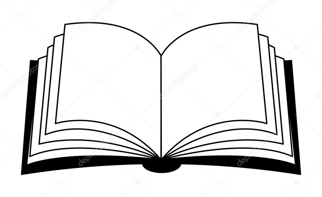 Açık kitap vektörel clipart siluet, simge, simge tasarım. İllüstrasyon  izole beyaz arka plan üzerinde u2014 newelle - Vektör