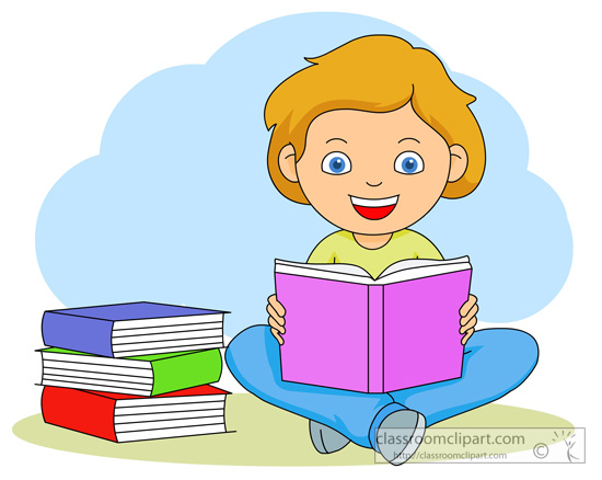 Book Clipart Girl Reading A B - Reading Books Clipart