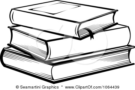 Books Clip Art Black And Whit - Stacked Books Clipart