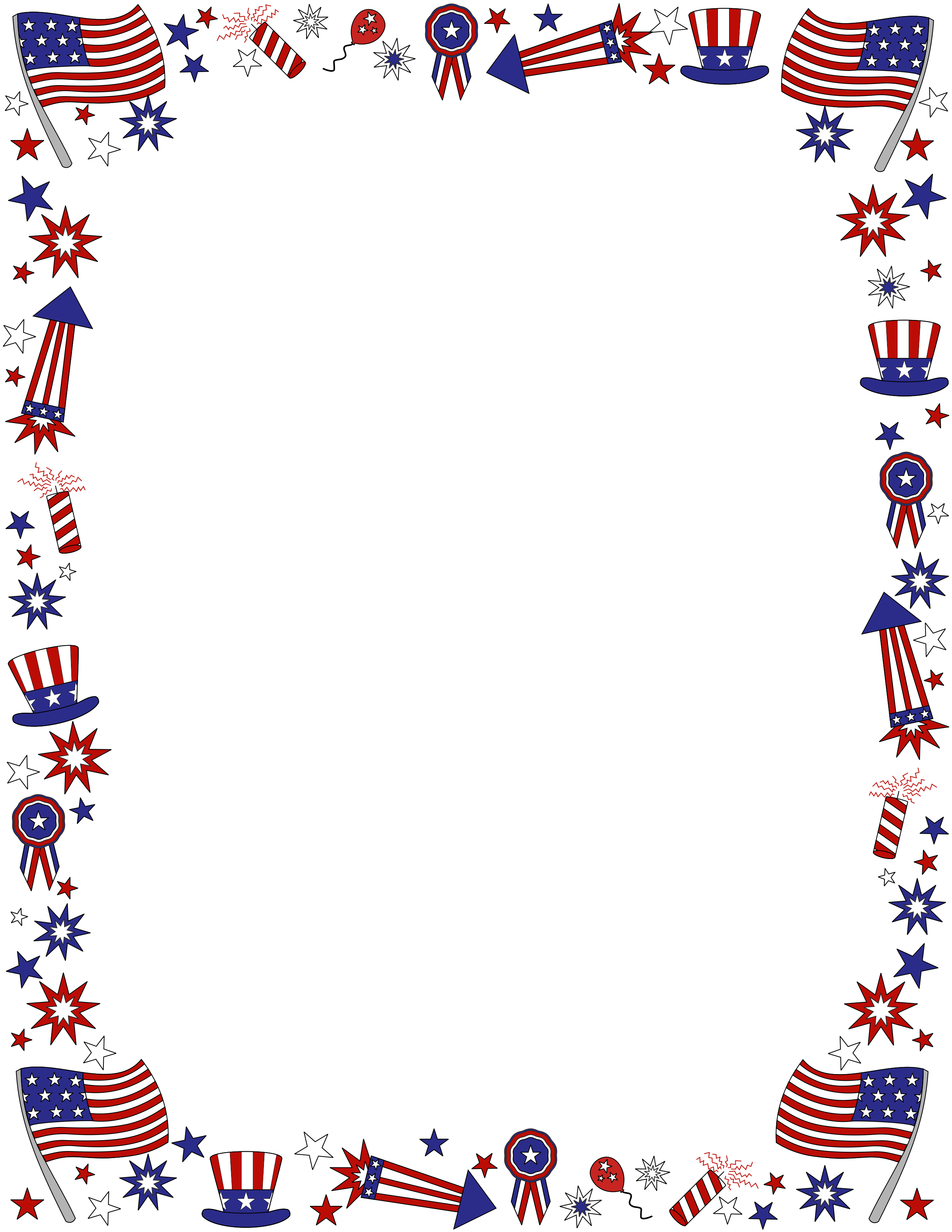 borders have been added to th free fourth of july clip art