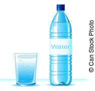 ... Bottle Of Clean Water And Glass On W-... Bottle of clean water and glass on white background .Vector.-1