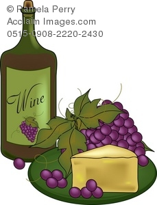 Bottle of Wine and a Plate of Cheese and Grapes Royalty-Free Clip Art Picture