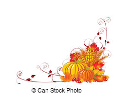 Bountiful Harvest - Seasonal background with plump pumpkins,.