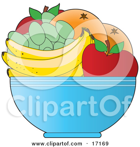 Bowl Of Fresh Fruit Including Red Apples Green Grapes Bananas And Oranges Or Grapefruit