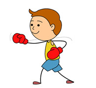 boxer with gloves up. Size: 55 Kb