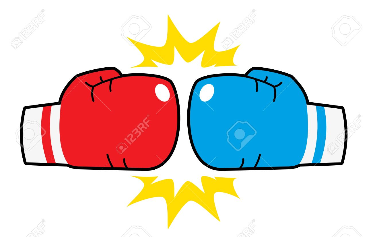 boxing gloves hit, red and .