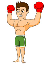 boxing player giving winning aggressive expression clipart. Size: 70 Kb