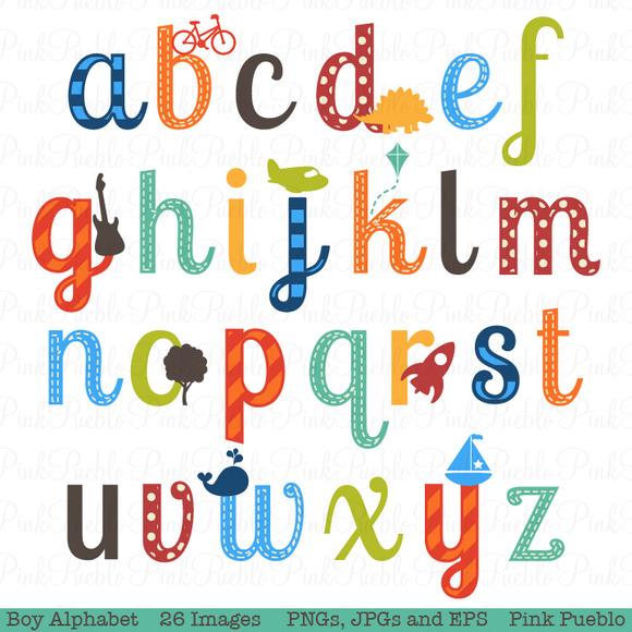Boy Alphabet Clipart Vectors Illustratio-Boy Alphabet Clipart Vectors Illustrations On Creative Market-1