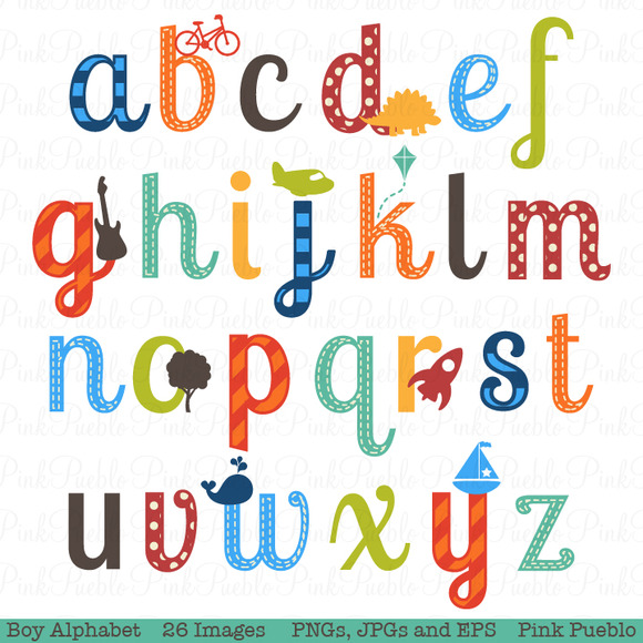 Boy Alphabet Clipart Vectors Illustratio-Boy Alphabet Clipart Vectors Illustrations On Creative Market-12