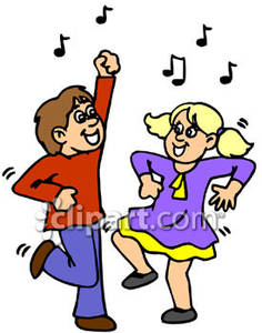 Boy And A Girl Dancing Together Royalty Free Clipart Picture