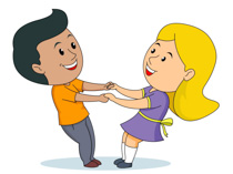 boy and girl hand in hand playing togather clipart. Size: 102 Kb