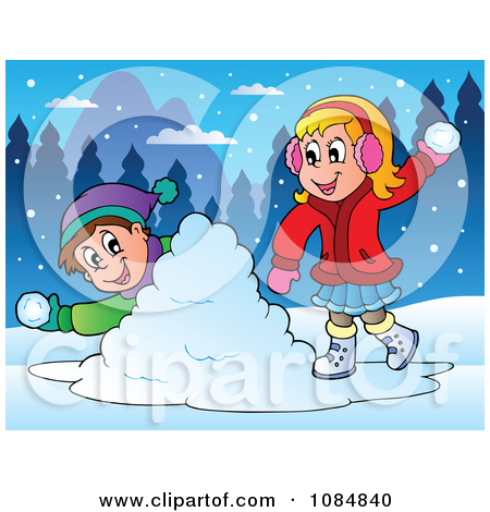 Boy And Girl Having A Snowball Fight by visekart