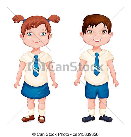 ... Boy And Girl In School Uniform Isola-... Boy and girl in school uniform isolated on white.-0
