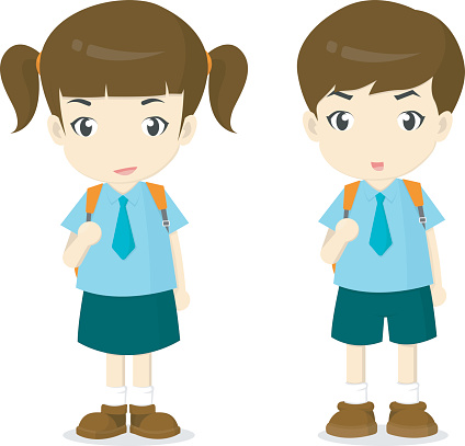Boy And Girl In School Uniform .-boy and girl in school uniform .-1