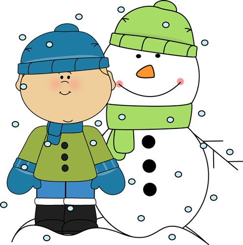 Boy And Snowman In The Snow C - Snow Day Clip Art