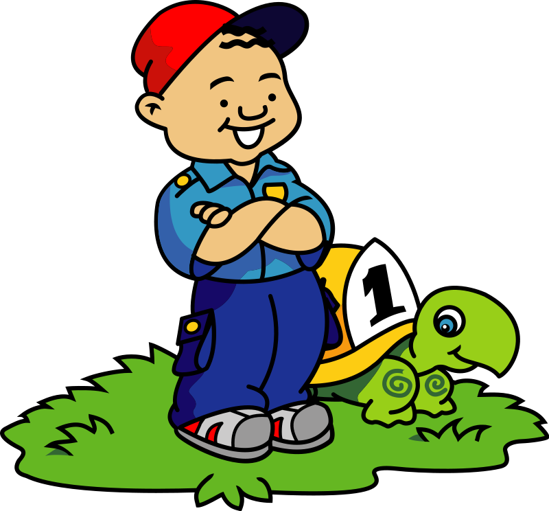 Boy and Turtle clip art from the opencli-Boy and Turtle clip art from the openclipart-6