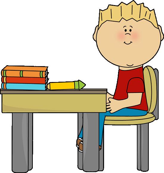 Boy At School Desk Clip Art L - Desk Clip Art