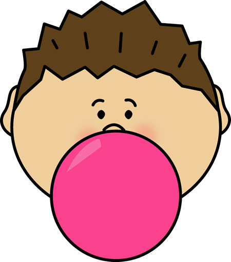 Boy Blowing Bubblegum Bubble