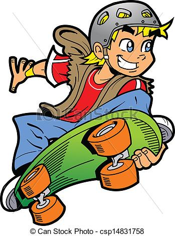 Boy Doing Skateboard Jump - Cool Smiling Young Man or Boy.