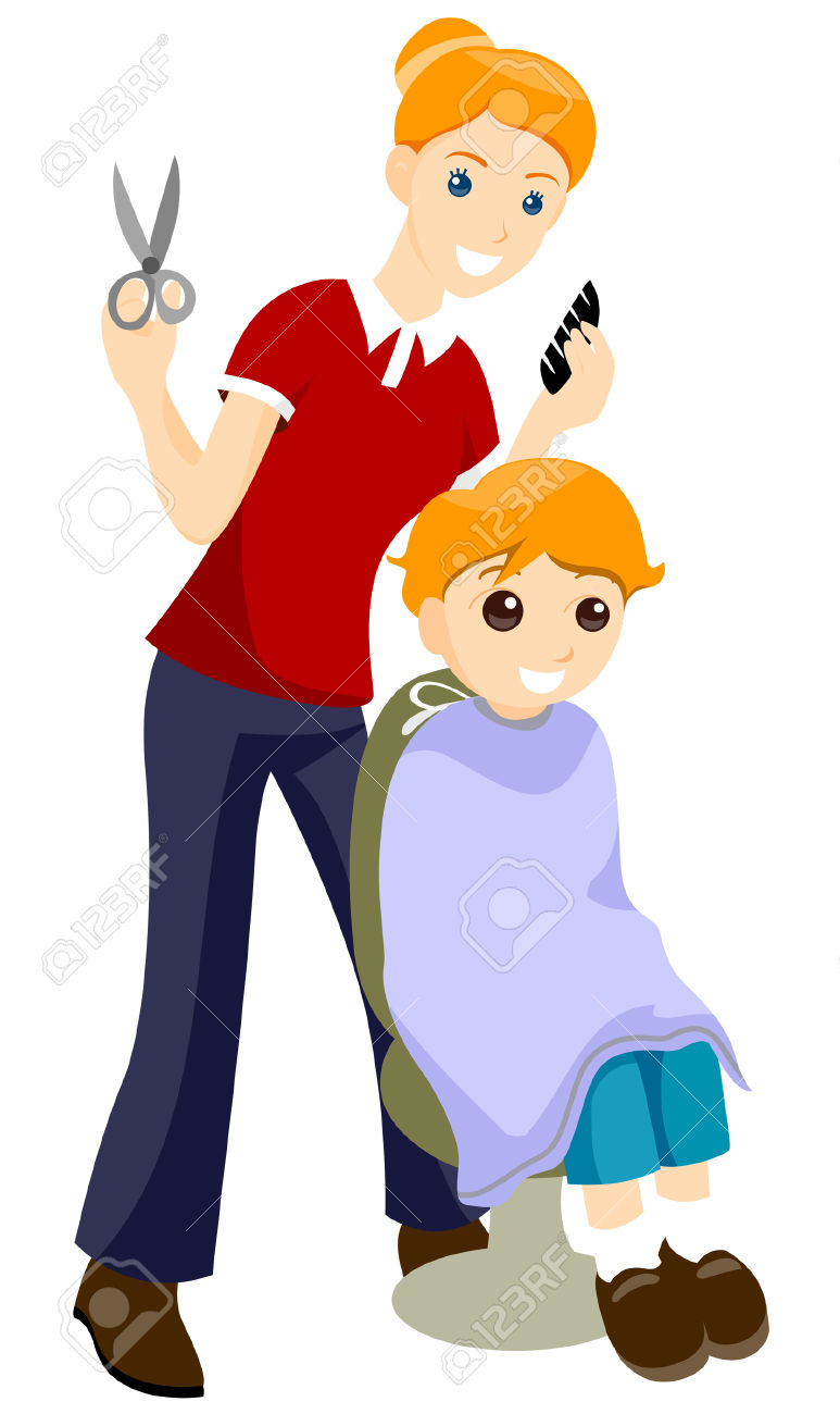 boy getting haircut clipart