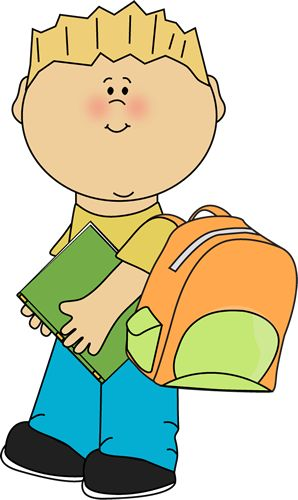 Boy going to school from MyCuteGraphics