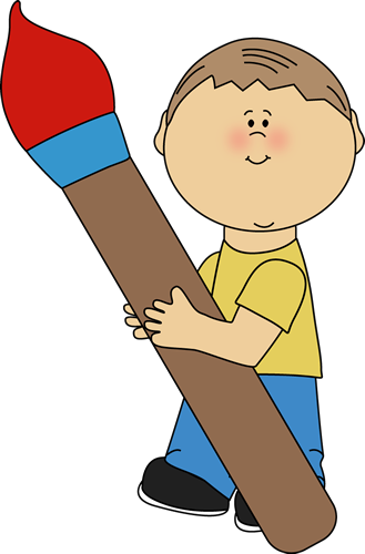 Boy Holding a Giant Paint Brush