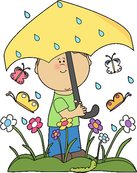 Boy in Spring Rain - Springtime Clipart