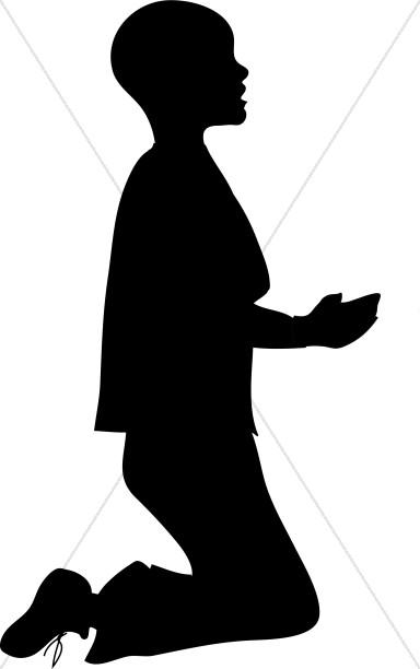 Boy Kneeling in Silhouette Clipart