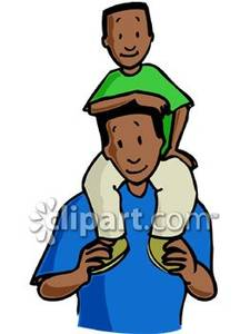 Boy On His Dad S Shoulders Ro - Dad Clip Art