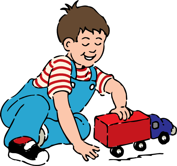 Boy Playing With Toy Truck Cl - Play Clip Art