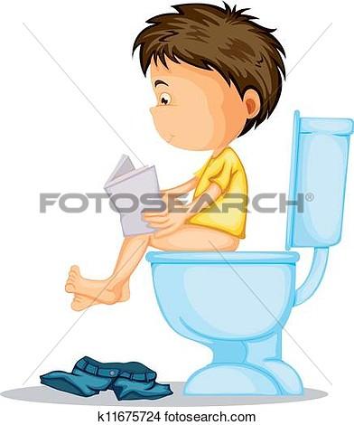 boy potty training clipart