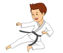 Boy Practicing Karate Kick Si - Martial Arts Clipart
