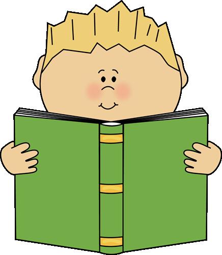 Boy Reading a Book Clip Art - Boy Reading a Book Image