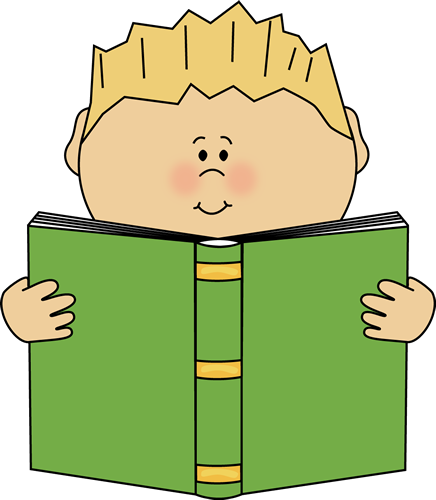 Boy Reading a Book Clip Art