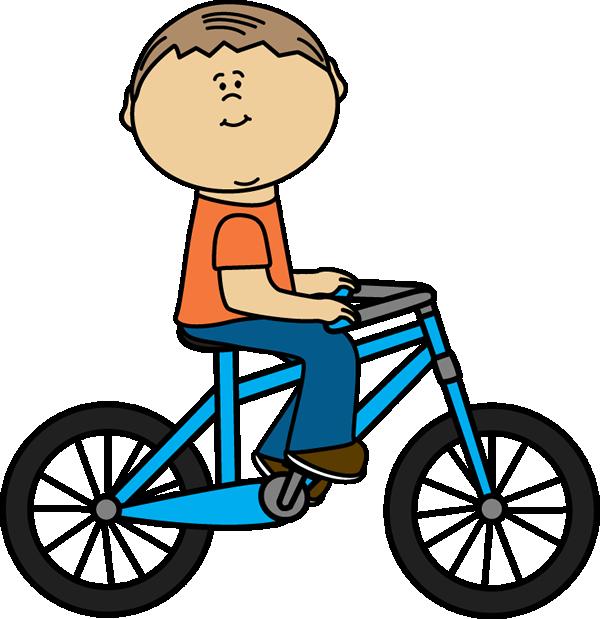 Boy Riding a Bicycle - Bike Clip Art