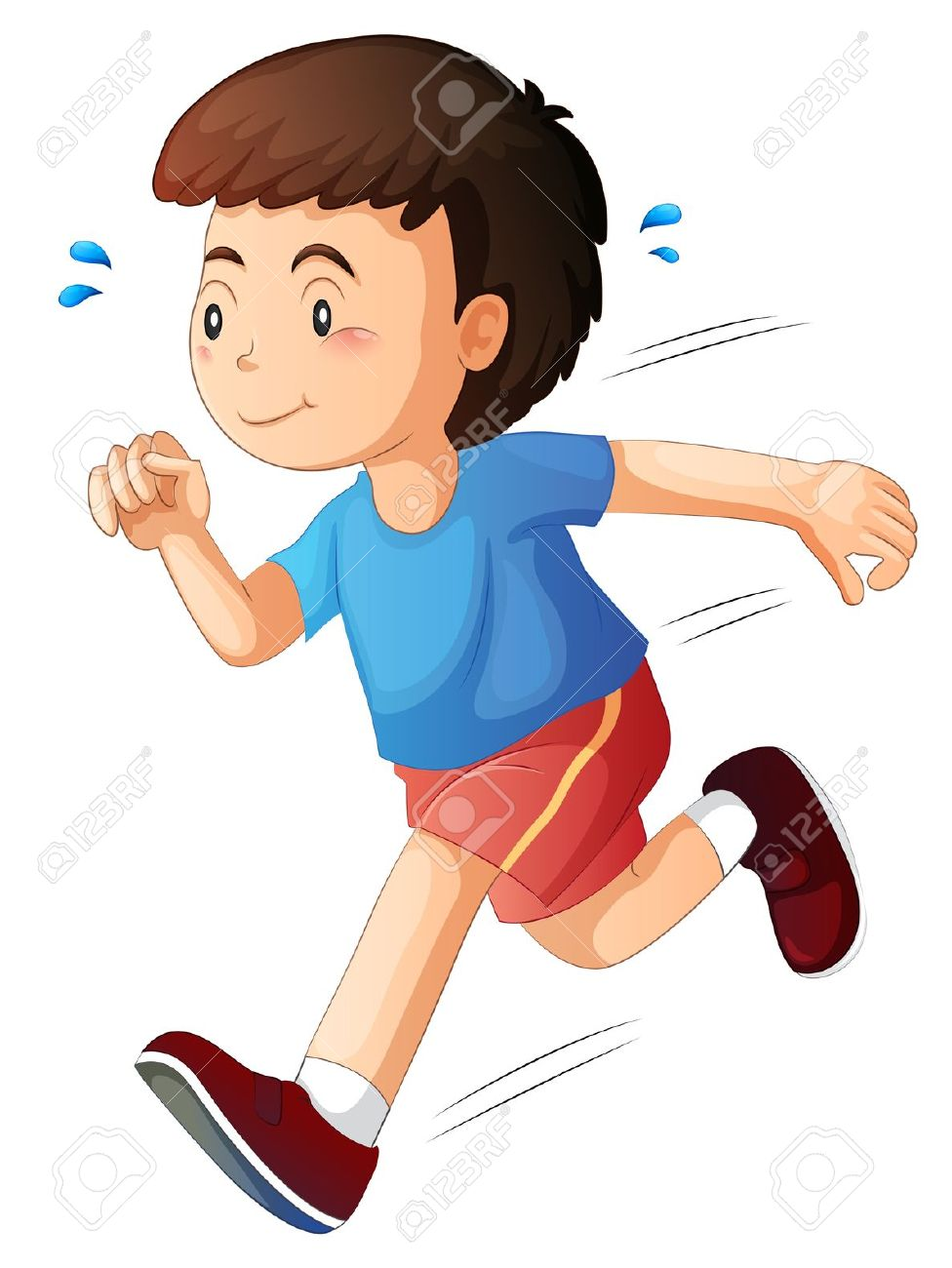 Boy running fast clipart - .