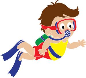 Boy scuba diver clipart - ClipartFest