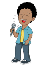 Boy Singing Into Microphone Pointing Fin-Boy Singing Into Microphone Pointing Finger Up Clipart Size: 67 Kb-1