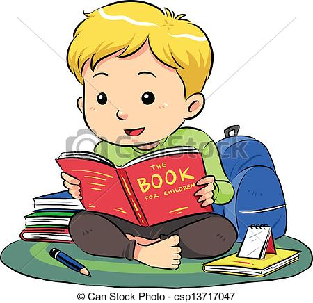 Boy Sitting And Reading A Book Vector Csp13717047 Search Clip